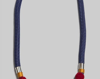 blue silver rope necklace