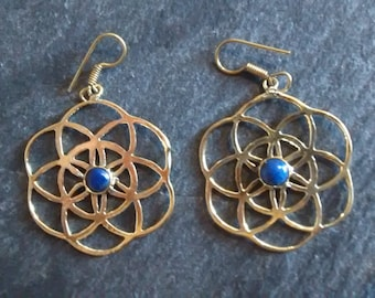 seed of life earrings,sacred geometry,Indian brass
