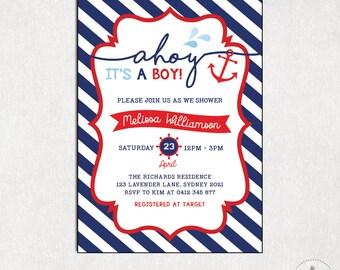 NAUTICAL BABY Shower Invitation. Boy Baby Shower Digital Invite. Navy Stripes. Baby Sprinkle Invite. Anchor Invitation. Ahoy It's a Boy NAU1