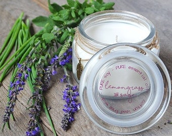 Lemongrass and Sage Candle 11 oz Large - Essential Oil Candle - Soy Candles - Jar Candles - Aromatherapy - Natural Candles - Hand Poured
