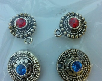 SWAROVSKI CRYSTAL EARRINGS Components, 2-Pairs, Marcasite Look Cast Settings, Red And Blue, Destash Earrings Supplies, Jewelry Making, Sets