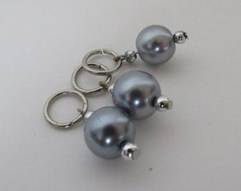 Grey Pearl 8mm (US 11) Stitch Markers (Sets of 3)