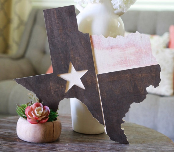 Stained Texas Cutout with State Flag Engraved