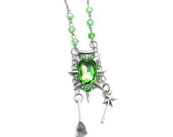 """Zelena Witch Once Upon a Time Inspired Green Glass Beaded Charm 21"""" Chain Necklace Silver Tone"""