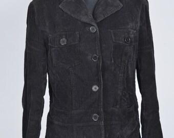Black Corduroy Jacket Retro Vintage size 10 - 12