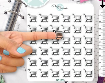 Clear Shopping Stickers Shopping Cart Stickers Planner Stickers Erin Condren Functional Stickers Decorative Stickers NR1065
