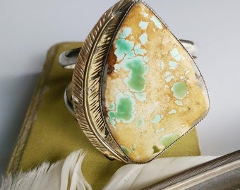 Turquoise Feather Cuff || Royston Turquoise