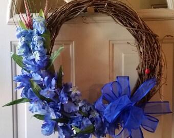Blue Iris Grapevine Wreath