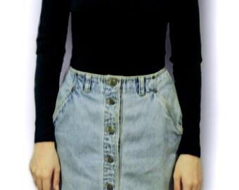 Denim High Waisted Skirt