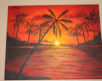Hawaiian palm tree sunset Original signed 16x20 gallery wrapped signed acrylic painting; ready to ship, ready to hang