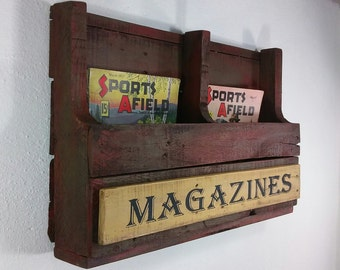 magazine storage wall hanging organizer red wood magazine rack