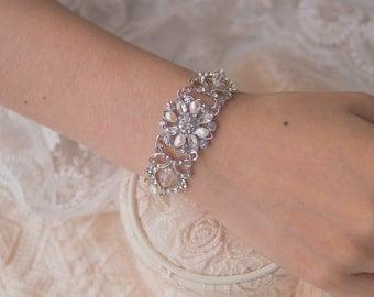 Bridal Bracelet, Pearl Cuff Bracelet, Ivory Pearl Bracelet, Swarovski Pearl Zirconia, Bridesmaid Bracelet, Bridal Jewelry, Wedding Accessory