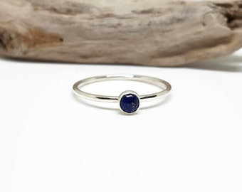 Lapis Lazuli Ring - Sterling Promise Ring - Dainty Silver Stack Ring - Slim Ring - Simple Stack Jewelry - Thin Sterling Ring - Delicate Ring