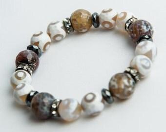 White Tibetan + Fire Agate  Bracelet