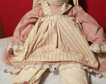 Vintage Bunny Rabbit Doll Wearing Pink & White Old Country Style Dress