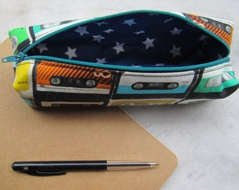 Cassette Tape Pencil Pouch, Retro Cassette, Oldschool, Sun glasses case