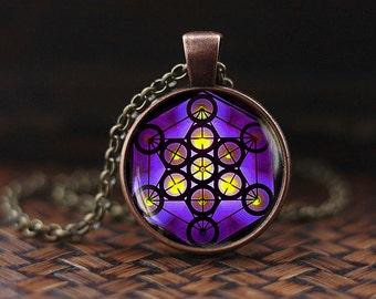 Metatron's Cube pendant, Metatron's Cube necklace, Sacred geometry necklace, Geometric necklace, Jewelry for men, men's necklace