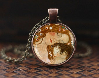 Mother and Child Gustav Klimt Necklace, Klimt necklace, Mother and child jewelry, mothers day gift, mommy pendant, mom necklace