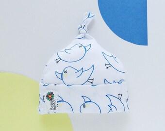 Baby Beanie | Baby Hat | Newborn Beanie | Topknot Beanie | Flying Blue Bird | Poppy and Peridot