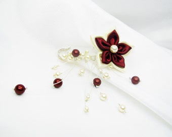 Burgundy and ivory tie behind, back train swarovski Pearl, wedding flower, wedding pin brooch