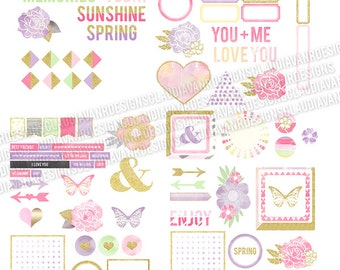 Let The Sun Shine Printable/Digital Ephemera Clipart Pack (100+ pieces)