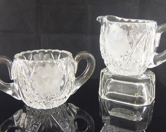 Vintage Cut Crystal Cream and Sugar Bowls, Cut Flowers, Floral, Double Handled Creamer, Star