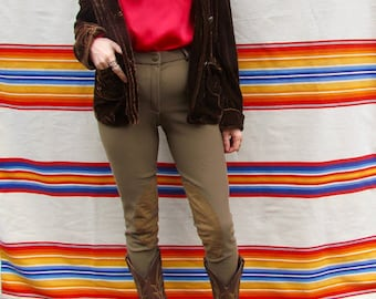 Woman's Western Taupe High Waisted Horse Riding Pants with Suede Inlays
