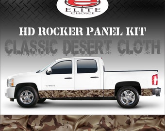 "Classic Desert Cloth Camo Rocker Panel Graphic Decal Wrap Truck SUV - 12"" x 24FT"