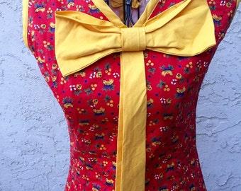 1960s Hot Wings Bow Dress XS