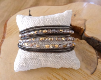 Women bracelet, Leather and gold crystal bracelet, 3 wraps bracelet, Boho chic, Brown leather jewelry, Girl bohemian jewelry, Unique gift