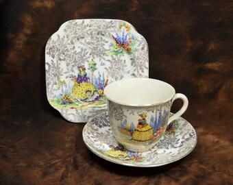 079 Crinoline Lady Tea Cup, Saucer and Plate; Portland Pottery Cobridge and Colclough