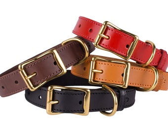 Dog Collar Leather Personalized Dog Collar with Name Plate Brass Buckle Red Brown Black Green