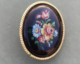 Porcelain Enamel Hand Painted Antique Brooch, Vintage jewelry, hand painted enamel pin, lapel pin, rose and tulip, blue daisy