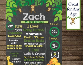 Jungle Theme Chalkboard Birthday Sign, Boys Birthday, Girl Birthday, Jungle Theme Birthday,Decoration,Jungle Animals Birthday,First Birthday