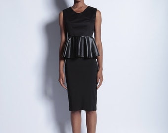 Black Leather Look Pemlum Top Two-Tone - Size UK 8 (Other sizes available)