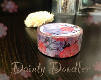 Pretty Purple and Pink Floral Washi Tape / Planner Supplies / Diary / Scrapbook / Photo album / Craft
