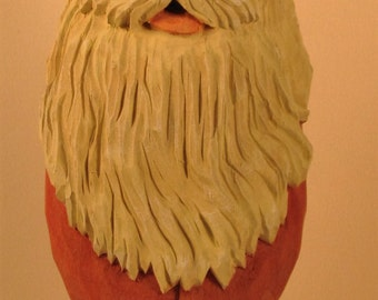 Wood carved Santa bust collectible gift