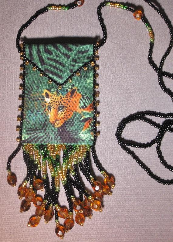 Spotted Leopard Hand-Beaded Medicine Bag