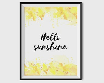 Summer Poster, Hello Sunshine, Printable Summer Art, Summer Print, Hello Sunshine Printable, Summer Print, Digital Wall Art, Nursery Decor