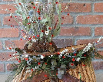 Fish Creel with Floral arrangement  (Red Accents)