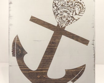 Anchor - Hand Painted - Custom Wooden Sign - Wall Decor