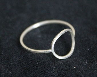 Open Circle Silver Ring Band, Geometric Silver Ring, Handmade Sterling Silver Circle Ring