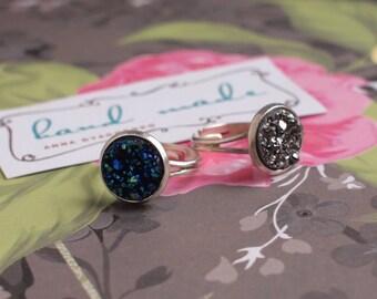 Faux druzy ring Blue Gray Orange ring Adjustable ring Multicolor druzy ring Boho Chic 12mm druzy ring Midnight blue ring