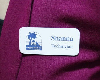 "1.25 "" x 3"" Engraved Two-Color Plastic Nametag with Magnetic Backer"
