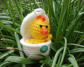 Crochet chick toy yellow chicken playful egg box amigurumi stuffed little toy Easter gift baby shower gift Waldorf toy Easter Egg