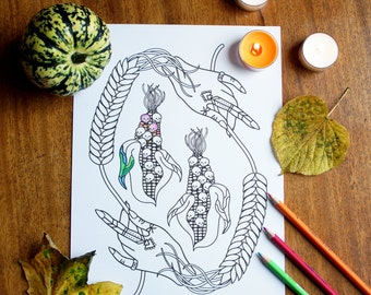 Halloween Coloring Pages, Fall Printable Adult Coloring Pages, Autumn Instant Download Coloring Page, Spooky Illustration Print and Color