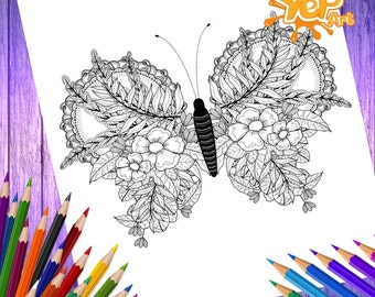 Butterfly  Adult Coloring Page,  Coloring Book, Digital Coloring Book, Instant PDF Download, Butterfly Printable Coloring Page