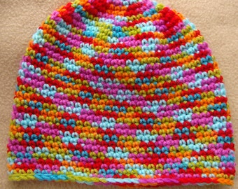 Women's Crochet Beanie - Rainbow / Multi Color / Handmade / Stretch Beanie Hat / Gay Pride / Bright and Colorful / Unisex / Adult / One Size