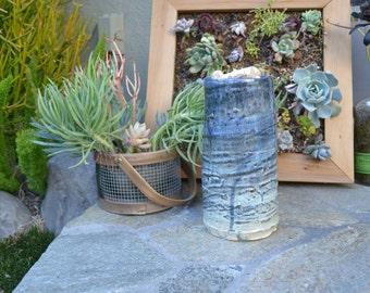 Hand-thrown and Glazed Blue Ceramic Vase or Candle Holder