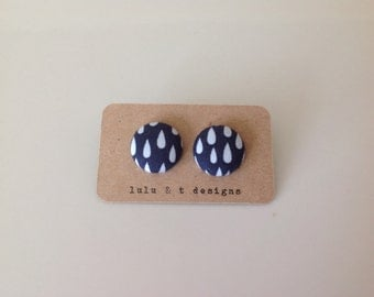 Rain drop fabric covered button earrings